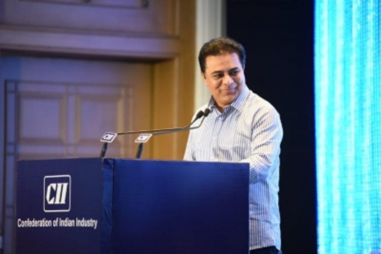 KT Rama Rao addressing a crowd at CII