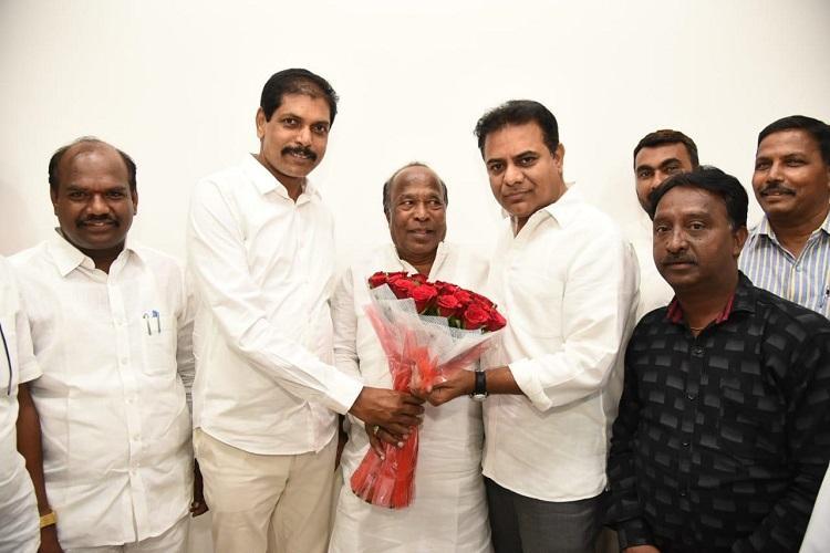 10th Congress legislator defects to TRS in Telangana meets KTR