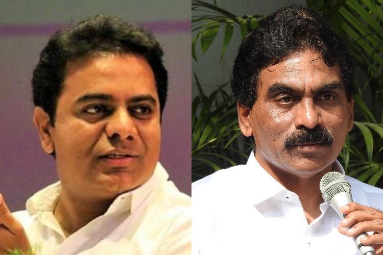 In Telangana its a fight between KTR and Lagadapati Rajagopal over a pre-poll survey