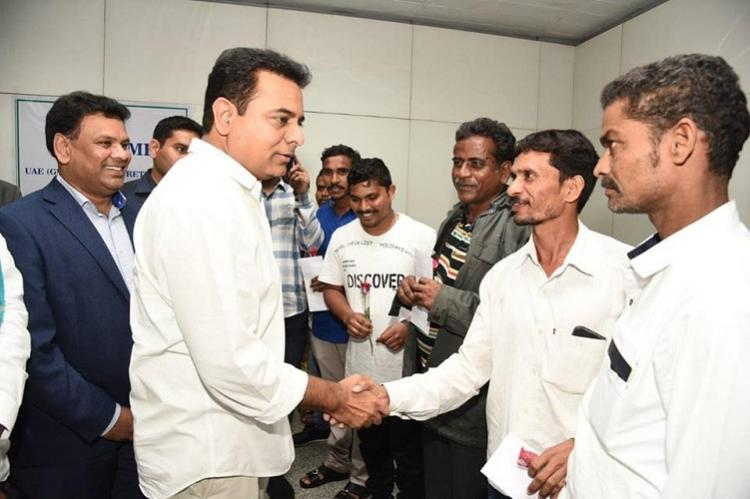 KTR meets Telangana migrants who returned from UAE urges Indians to use Amnesty scheme