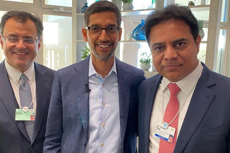 KTR meets Sundar Pichai at WEF invites him to open 2nd largest Google campus in Hyd