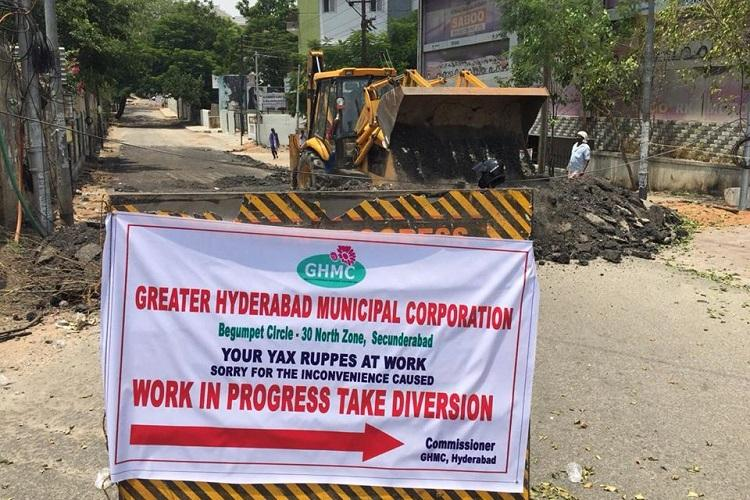 GHMC steps in after citizen protest begins repair of KTR-Ivanka Trump Road