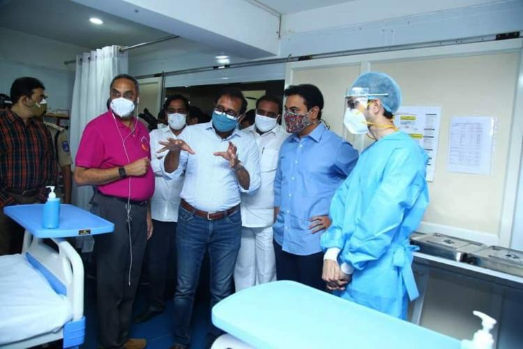 Min KTR interacts with officials after the inauguration of 100 bed COVID care center
