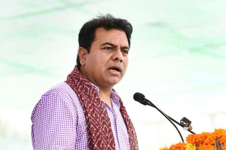 Telangana Industries Minister KT Rama Rao speaking into a mic