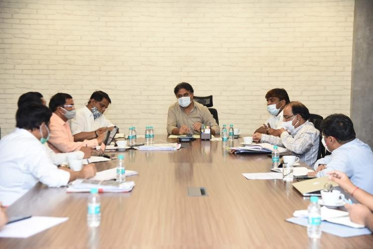 Telangana Minister KT Rama Rao addresses a meeting