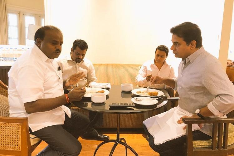 Telangana Minister KTR meets Ktaka CM in Bengaluru days after KCR-Deve Gowda meet