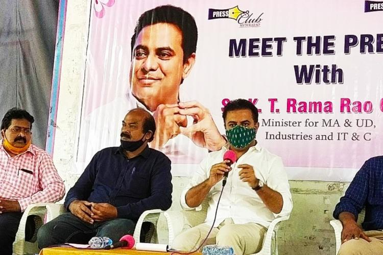 Minister KT Rama Rao addressing the media persons at Meet the Press event