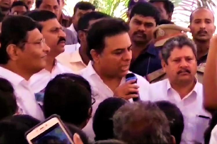 KTR faces college students wrath over bad infra forced to leave amid slogans