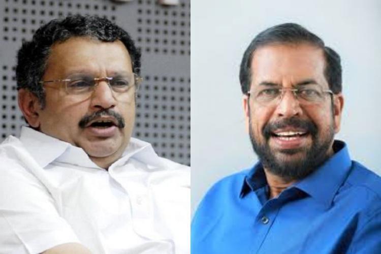 MP K Muraleedharan in a white shirt and Thiruvananthapuram mayor in a blue shirt