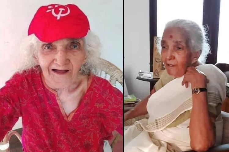 A collage of K Saradamoni in the first picture she wears a red t shirt and cap bearing the Communist logo in the second she is wearing a Kerala sari and sitting sideways
