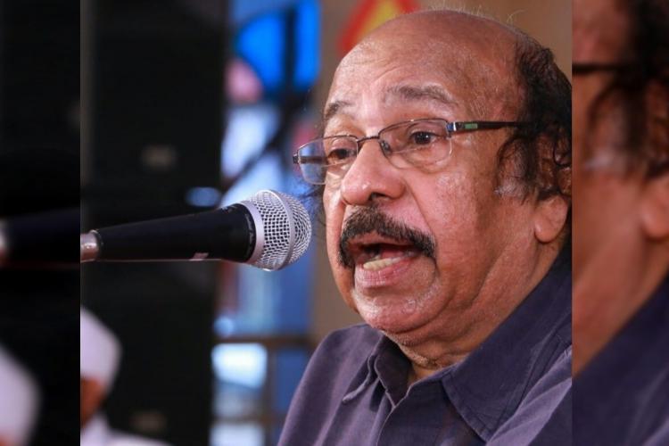 Poet K Satchidanandan speaking at an event