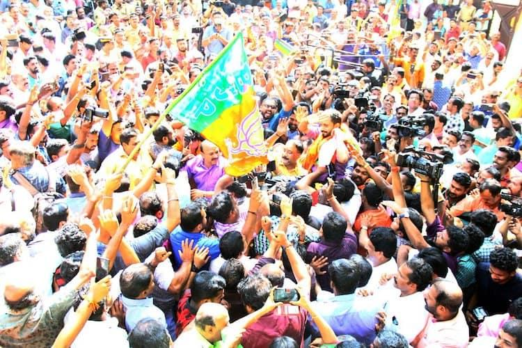 Kerala BJP leader K Surendran walks out of jail to grand welcome