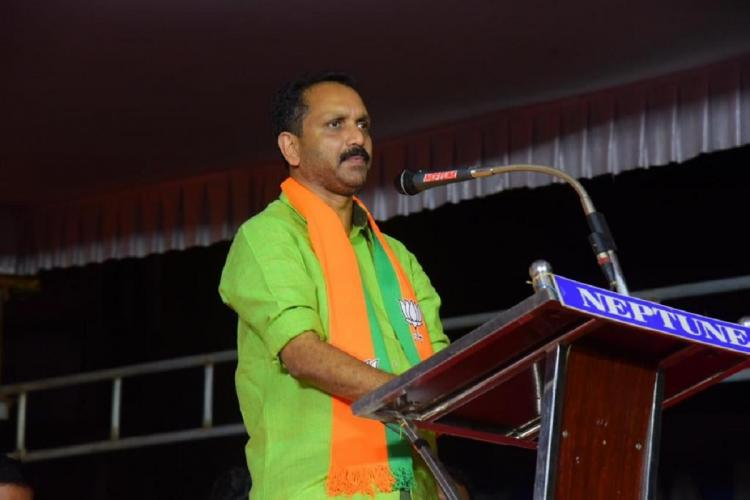 BJP candidate K Surendran speaks in Konni