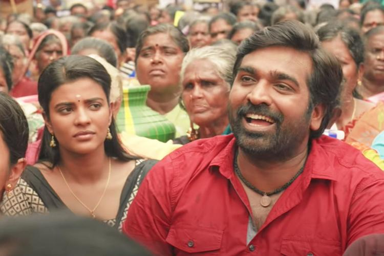 Aishwarya Rajesh and Vijay Sethupathi in Ka Pae Ranasingam during a protest scene