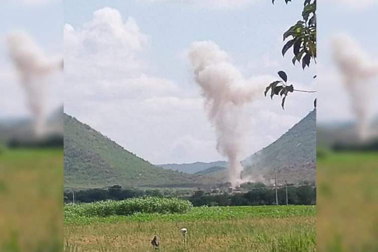 Smoke emanating from an accidental explosion at a limestone quarry in Kadapa district in Andhra Pradesh