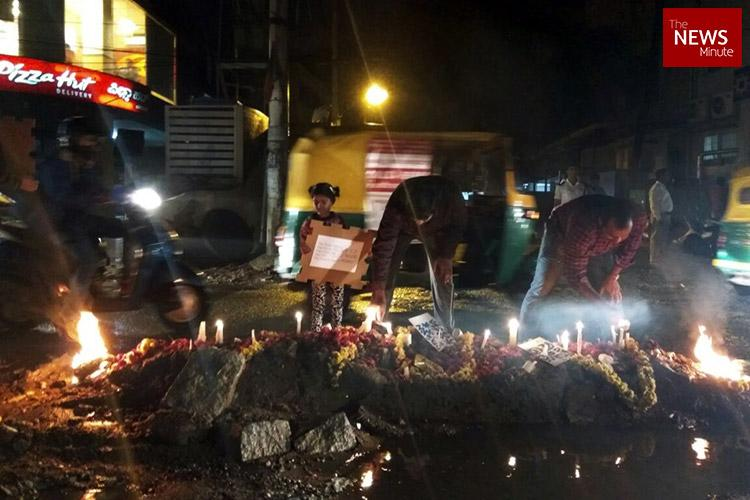 Residents declare pothole-riddled Bengaluru road dead perform last rites