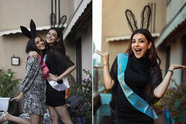 Collage of Kajal and Nisha Aggarwal from the former's bridal shower, seen wearing an LBD and a sash