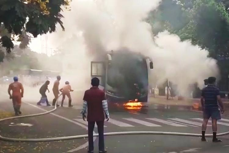 The Andhra RTC bus that was on fire