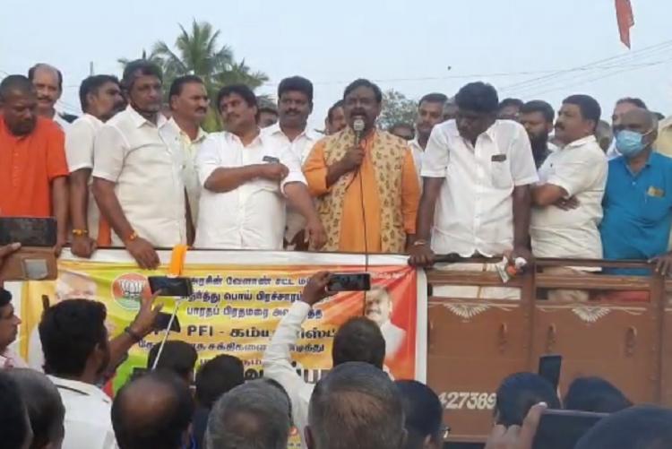 The BJP rally addressed by Kalyanaraman in Coimbatore