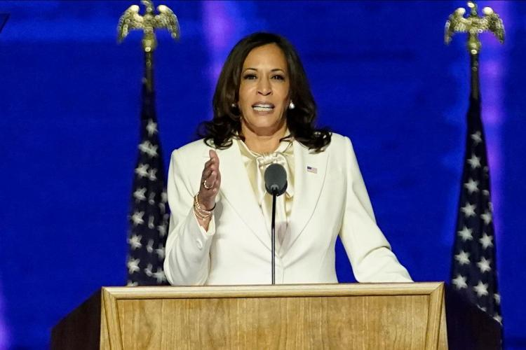 American Vice President Kamala Harris giving a speech during the election campaign