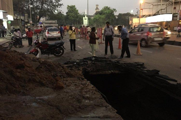 Another sinkhole appears in Hyderabad as pipeline leaks