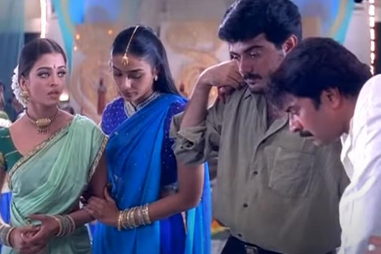 Still from Kandukondain Kandukondain starring Mammootty Ajith Tabu and Aishwarya Rai