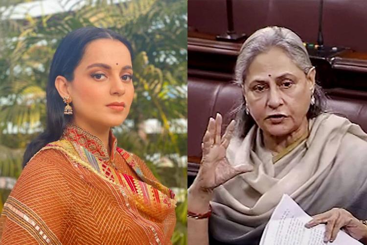 A collage of Kangana Ranaut in orange and Jaya Bachchan speaking in Parliament