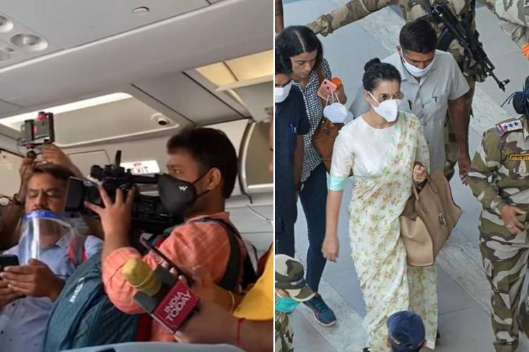 A collage showing mediapersons on board the flight and Kangana Ranaut exiting the Mumbai airport