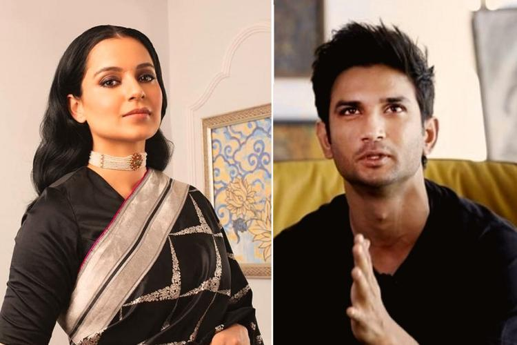 Collage of Kangana Ranaut and Sushant Singh Rajput both dressed in black