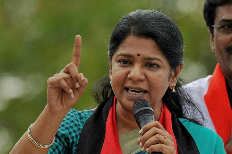 DMK MP Kanimozhi giving a speech in an election rally