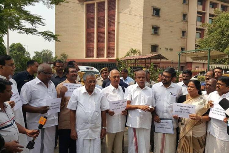No rail coach factory in Palakkad Kerala MPs protest at Rail Bhavan in Delhi