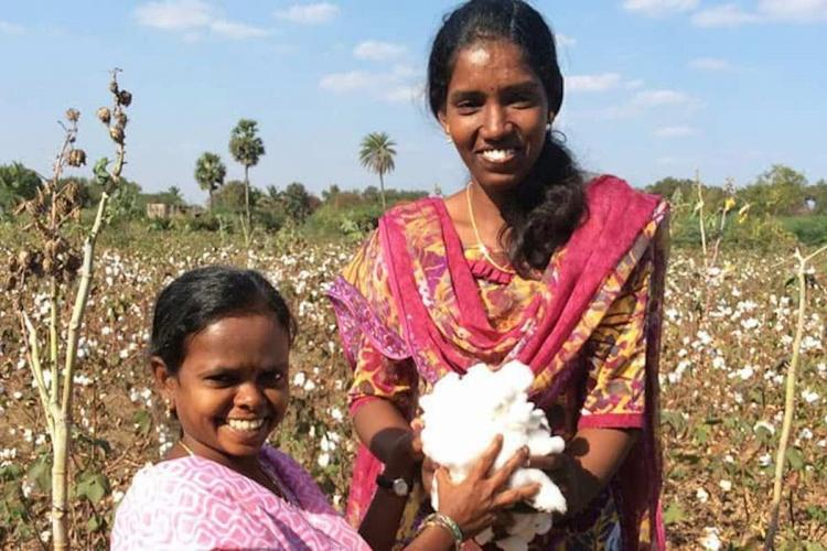Dhivya and Ambikapathi at a cotton farm The two young girls with disabilities were featured in Karadi Tales PARI Series
