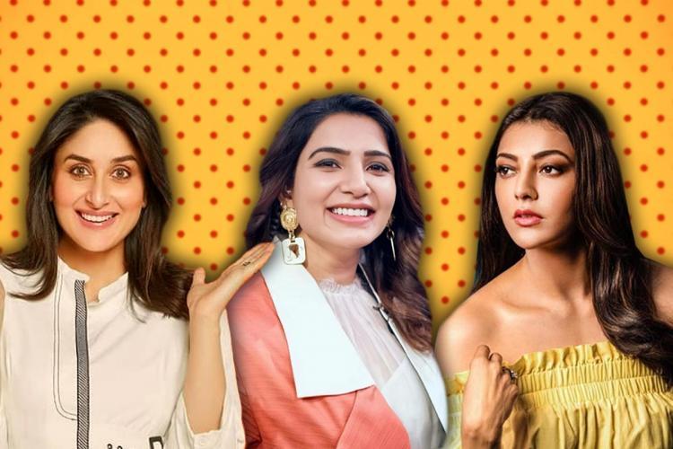 A collage of actors Kareena Kapoor Khan, Samantha and Kajal Aggarwal