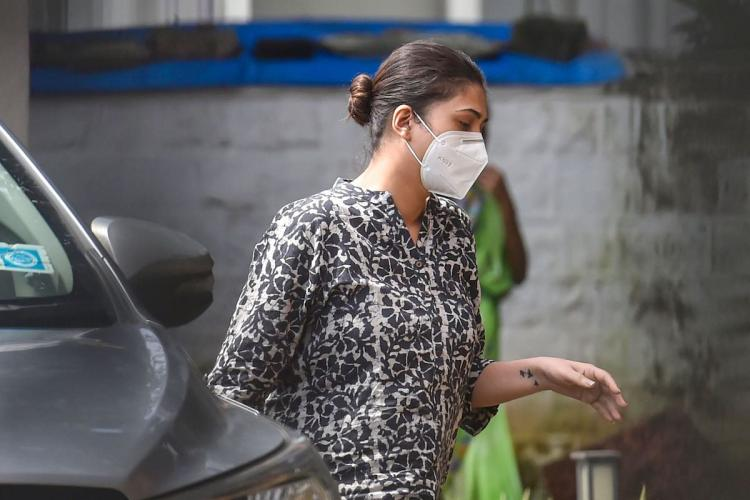 Karishma Prakash, Manager of Bollywood actress Deepika Padukone, arrives at NCB for questioning in a drug case related to late actor Sushant Singh Rajput's death, in Mumbai, Saturday, Sept. 26, 2020.