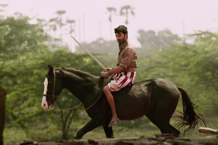 Dhanush is seen in the poster of 'Karnan'