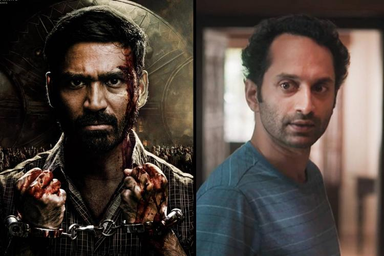 An image of Dhanush from the film Karnan on the left and an image of Fahadh Faasil from the film Joji on the right