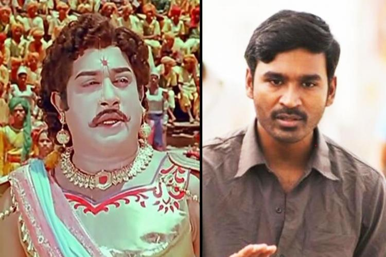 A collage of actors Sivaji Ganesan and Dhanush