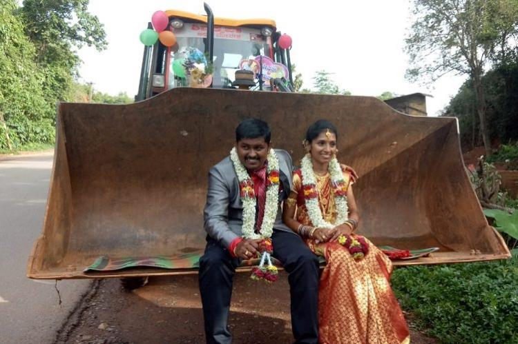 No cars, no horses: K'taka man takes wife home in a JCB machine