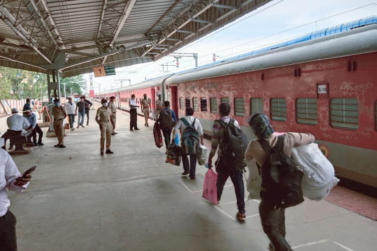 Passengers boarding one of the shramik trains