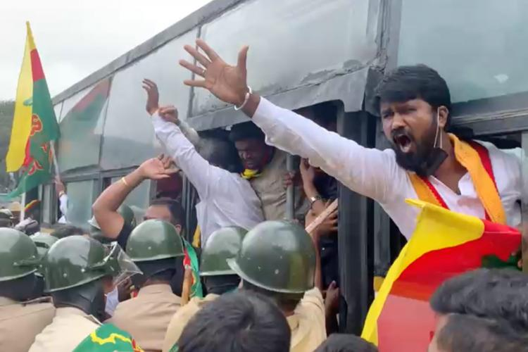 Pro Kannada protesters being detained from Bengaluru town hall during Karnataka bandh