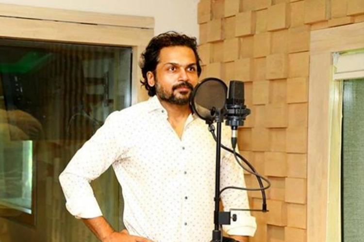 Karthi begins dubbing for Sunthan