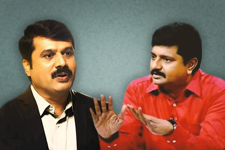 Collage of journalists and news anchors Gunsaekaran of News18 Tamil on the left and Karthigaichelvan of Puthiya Thalaimurai on the right