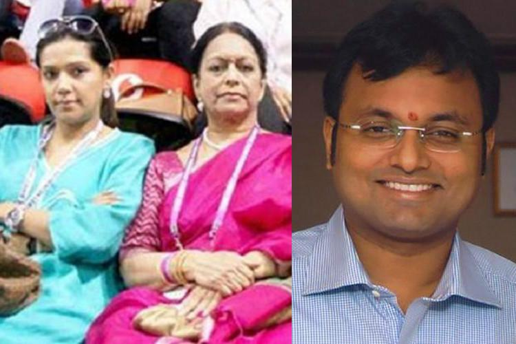 Charge sheets filed against wife Nalini Chidambaramson and son Karti Chidambaram