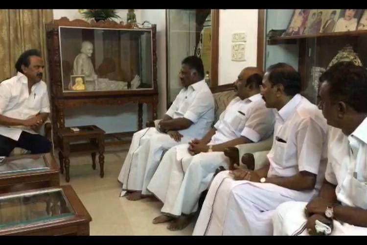 AIADMK Ministers visit Karunanidhi at Gopalapuram residence