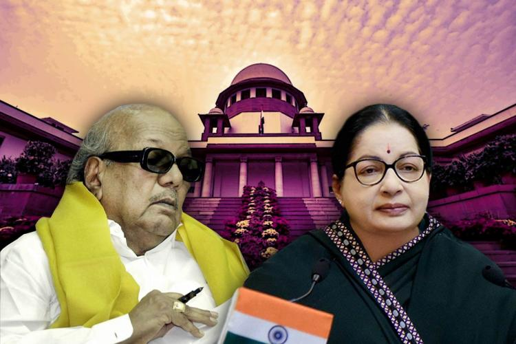 A collage of Karunanidhi and Jayalalithaa against the Supreme Court