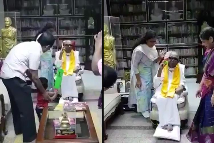 Watch Karunanidhi plays indoor cricket with great grandson video goes viral