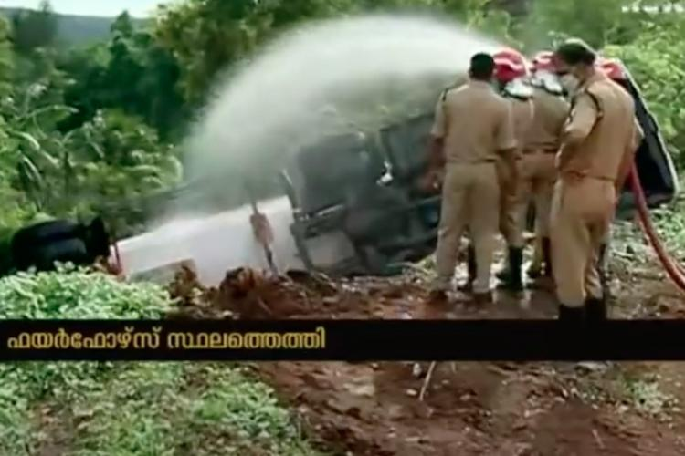 A tanker lorry overturned in Keralas Kasaragod following which locals were evacuated