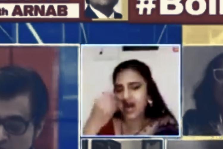 Actor Kasturi Shankar eating pongal the popular rice dish on live TV debate on prime time with Republic TV news anchor Arnab Goswami on Bollywood nepotism and the suicide of Sushant Singh Rajput and Kangana Ranaut controversy