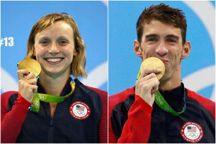 An adorable role reversal as Michael Phelps and Katie Ledecky re-create this iconic 2006 photograph