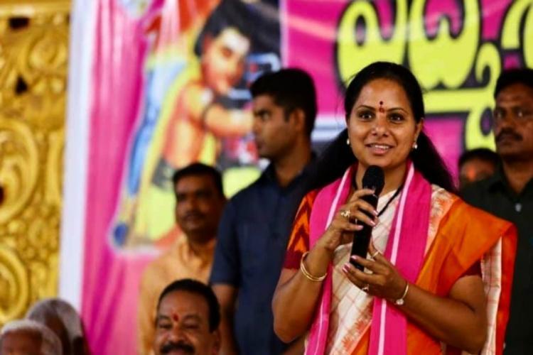 Kalvakuntla Kavitha addressing a gathering in Nizamabad earlier